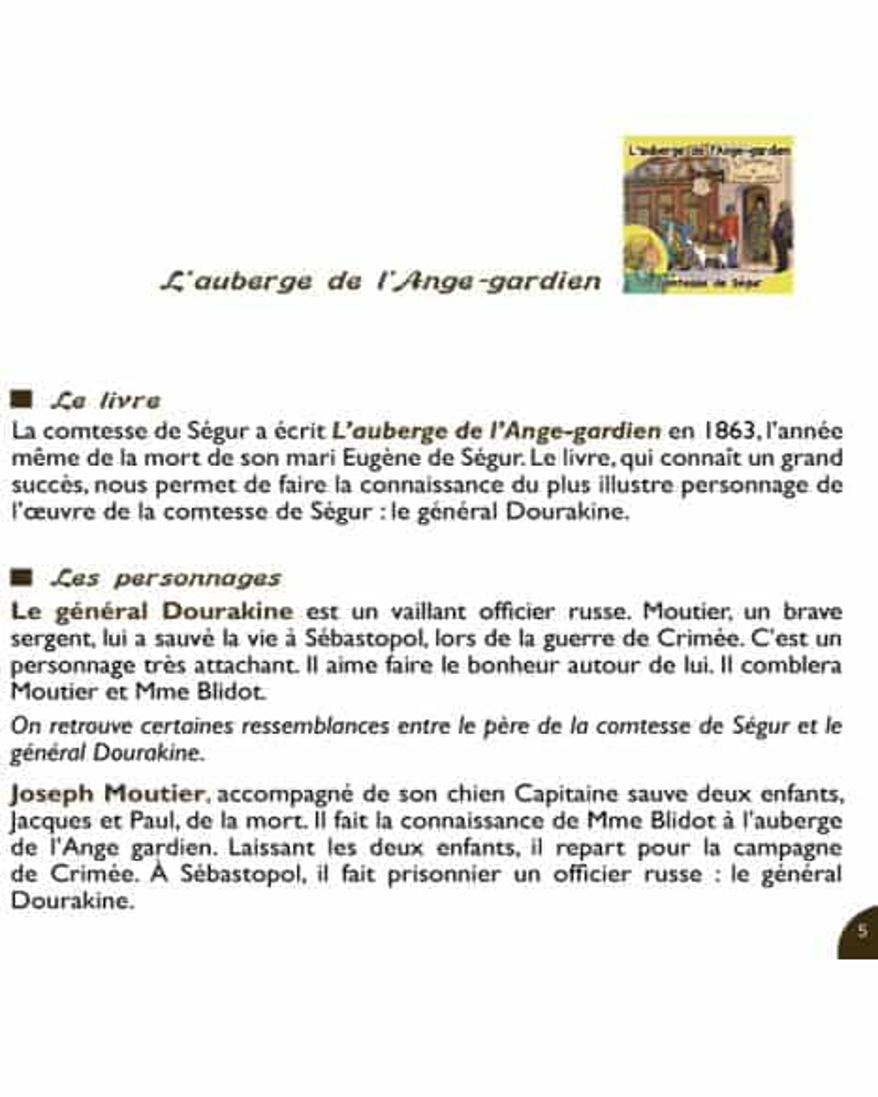 CD L'auberge de l'Ange-gardien de la comtesse de Ségur
